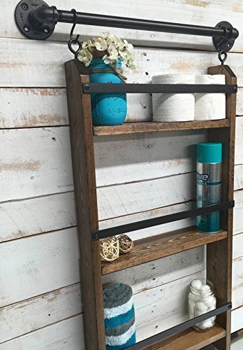 Farmhouse Storage Ideas, bathroom ladder shelf | DuctTapeAndDenim.com