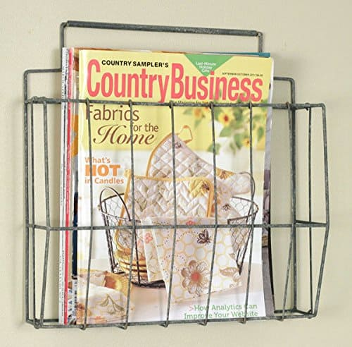 Farmhouse Storage Ideas, wire magazine rack | DuctTapeAndDenim.com