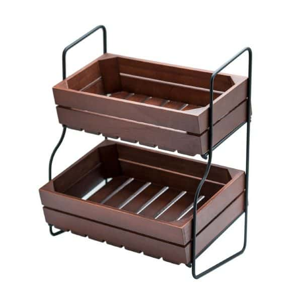 Farmhouse Storage Ideas, two-tier stand | DuctTapeAndDenim.com