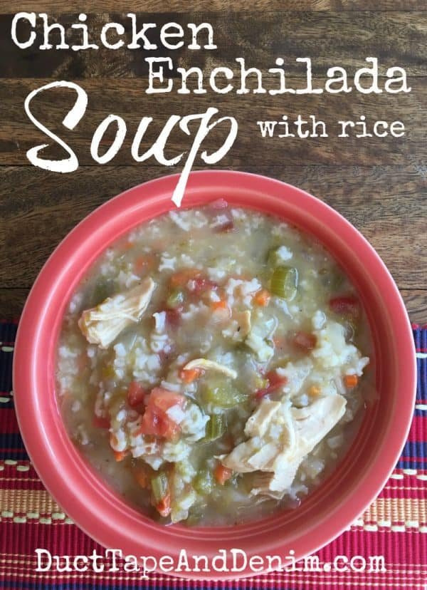 Chicken enchilada soup with rice recipe | DuctTapeAndDenim.com