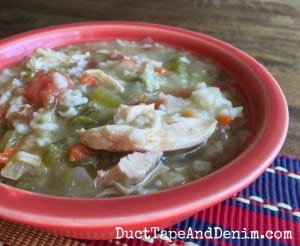 Chicken enchilada soup with rice recipe. Quick, filling meal on a cold winter weeknight. | DuctTapeAndDenim.com