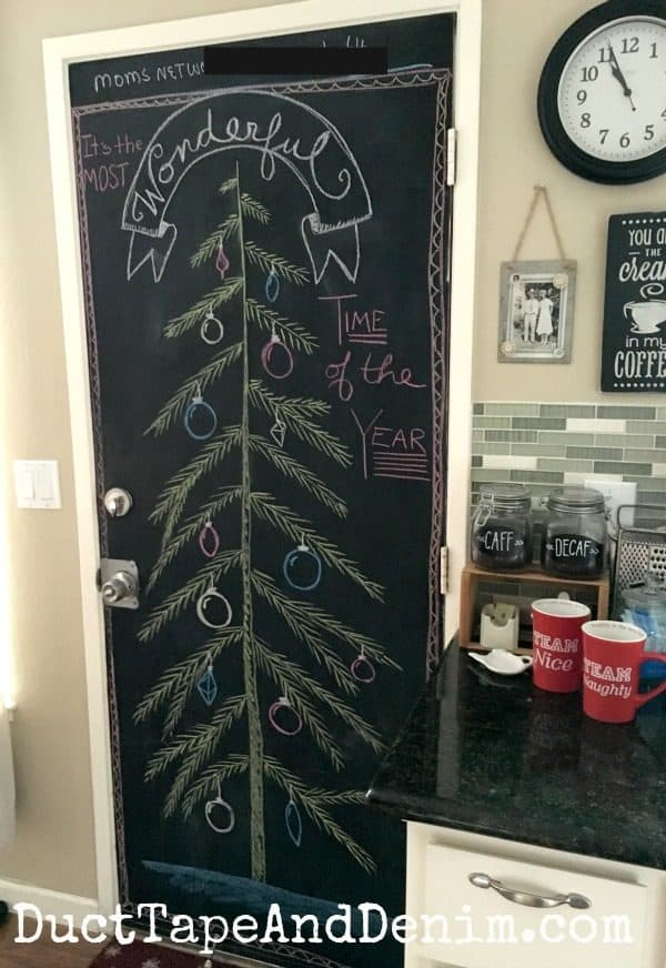 It's the most wonderful time of the year chalkboard Christmas tree art | DuctTapeAndDenim.com