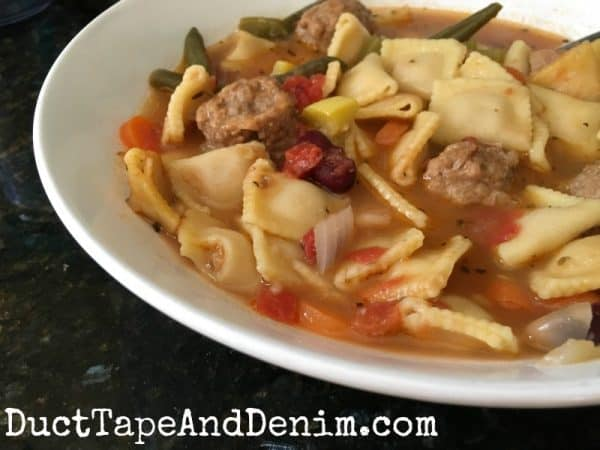 Meatball minestrone recipe and more soup recipes on DuctTapeAndDenim.com