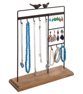 Bird necklace holder and more jewelry organizational ideas on DuctTapeAndDenim.com