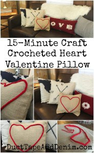 15 minute Valentine pillow, red crocheted heart canvas pillow.