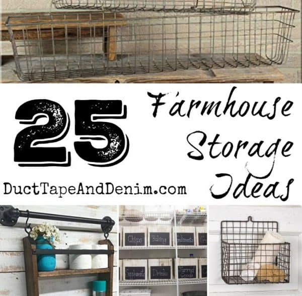 25 Farmhouse Storage Ideas for your home, kitchen, bathroom | DuctTapeAndDenim.com