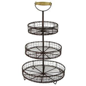 Farmhouse Storage Ideas, 3 tier metal baskets | DuctTapeAndDenim.com
