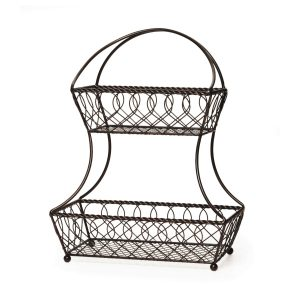 Farmhouse Storage Ideas, 2-tier metal fruit basket, kitchen storage | DuctTapeAndDenim.com