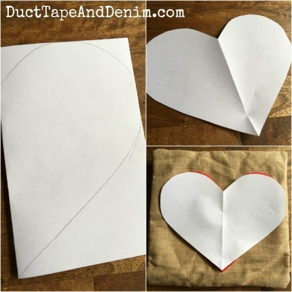 DIY Valentine Pillow, make a heart pattern out of paper