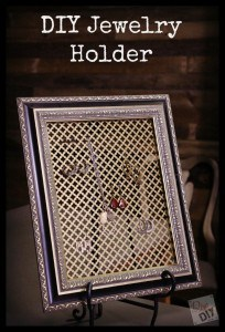 Frame jewelry holder and more DIY jewelry organization ideas on DuctTapeAndDenim.com