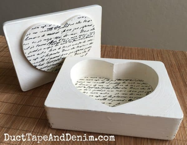 Thrift store makeover, wooden heart jewelry box with natural chalk and clay paint | DuctTapeAndDenim.com