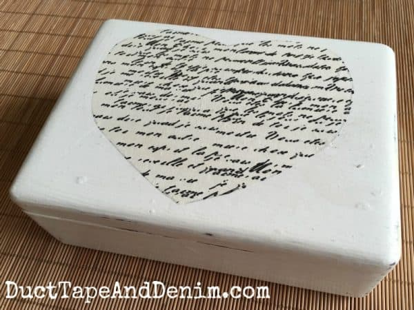 Thrift store makeover, small wooden jewelry box with heart cutout | DuctTapeAndDenim.com