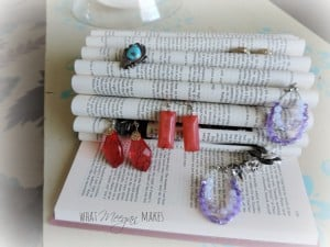 Ring display with old book, DIY jewelry organization ideas on DuctTapeAndDenim.com