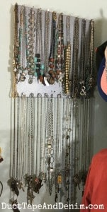 My necklaces are hung on an Umbra bulletboard, magnetic bulletin board | DuctTapeAndDenim.com