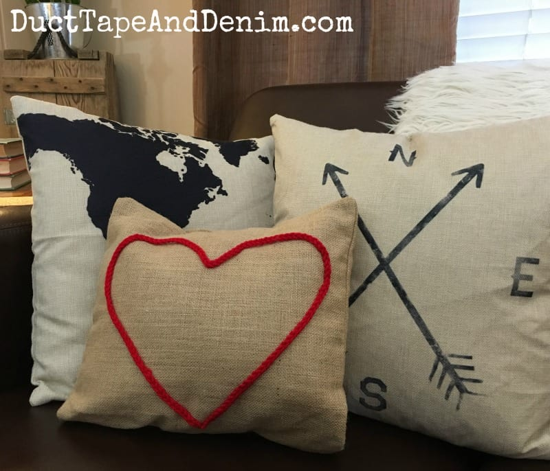 My red crochet heart canvas pillow cover ~ DuctTapeAndDenim.com