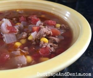 Turkey taco soup recipe. More recipes on DuctTapeAndDenim.co