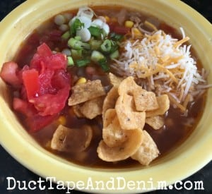 Turkey taco soup with toppings | DuctTapeAndDenim.com