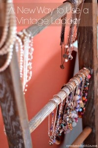 Vintage ladder holds necklaces, more DIY jewelry organization ideas on DuctTapeAndDenim.com