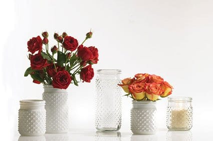 White hobnail jar for floral arrangements ~ gift ideas for Fixer Upper fans ~ DuctTapeAndDenim.com