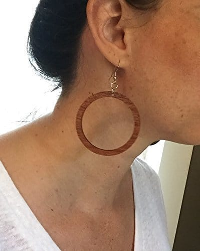 Wood hoop earrings from naturally reclaimed mahogany. Reminds me of some of the earrings Joanna Gaines wears on Fixer Upper. | DuctTapeAndDenim.com