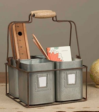 Tin metal divided carrier for your farmhouse kitchen or office | DuctTapeAndDenim.com