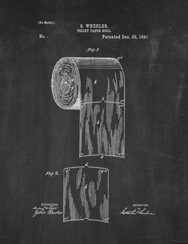 Toilet paper roll patent print ~ Gift ideas guide for Fixer Upper fans ~ DuctTapeAndDenim.com
