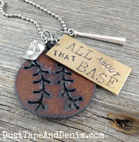 All About that Base baseball necklace by DuctTapeAndDenim.com ~ Baseball jewelry for spring training