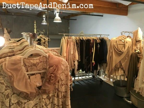 Boutique clothing upstairs at Paris Flea Market | DuctTapeAndDenim.com