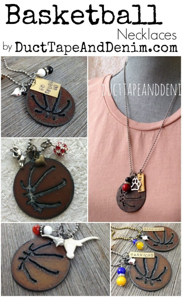Custom basketball necklaces for any professional, university, or high school team by DuctTapeAndDenim.com