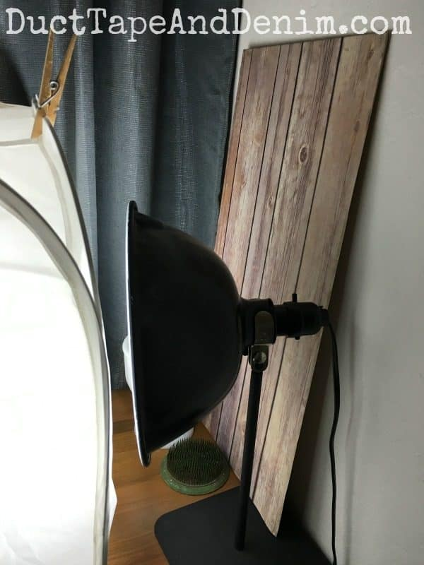 Faux wood photo backdrop in my home studio | DuctTapeAndDenim.com