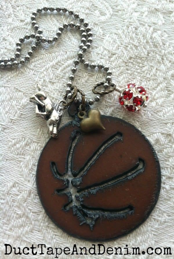 I Love Basketball Necklace for University of Arkansas Razorbacks team fan. Available on DuctTapeAndDenim.etsy.com