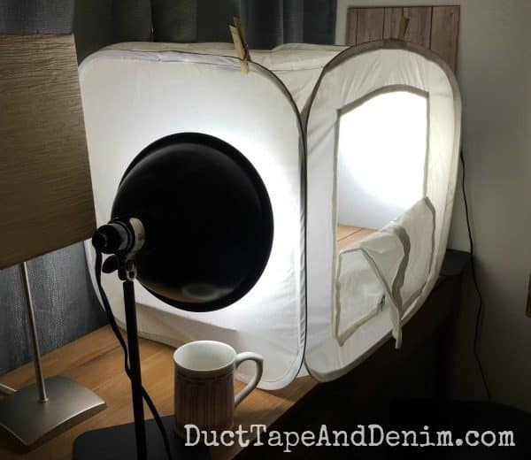My home photo studio, a soft light box | DuctTapeAndDenim.com