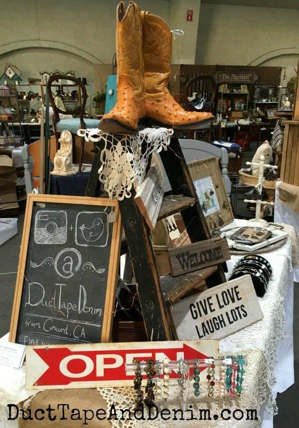 My space at Junk Bonanza, San Diego, California ~ vintage flea market ~ jewelry display ideas ~ DuctTapeAndDenim.com
