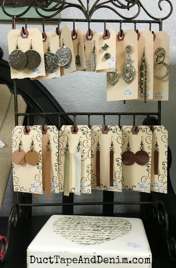 New leather earrings on my shelf at Paris Flea Market | DuctTapeAndDenim.com