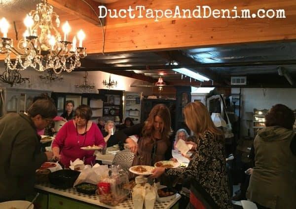 Potluck dinner at Paris Flea Market   DuctTapeAndDenim.com