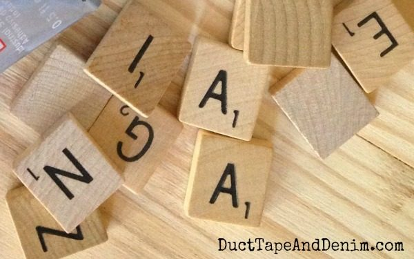 Scrabble tiles are my favorite vintage game piece to use for art, crafts, and DIY projects | DuctTapeAndDenim.com