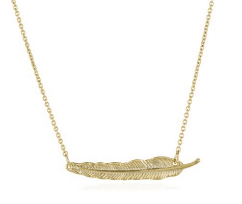 Gold feather necklace ~ gift guide for Fixer Upper fans ~ DuctTapeAndDenim.com