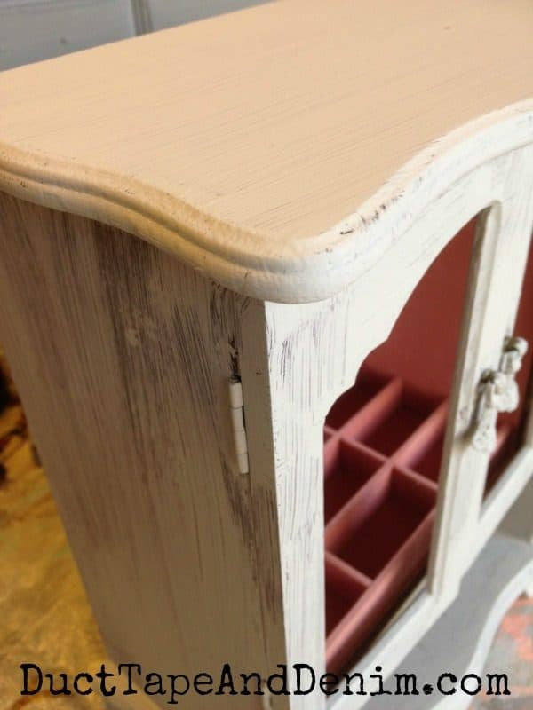 Thrift store makeover jewelry cabinet, close up of the first coat of chalk and clay paint | DuctTapeAndDenim.com