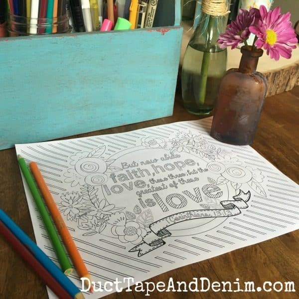 1 Corinthians 13:13 ~ More free Scripture coloring pages on DuctTapeAndDenim.com