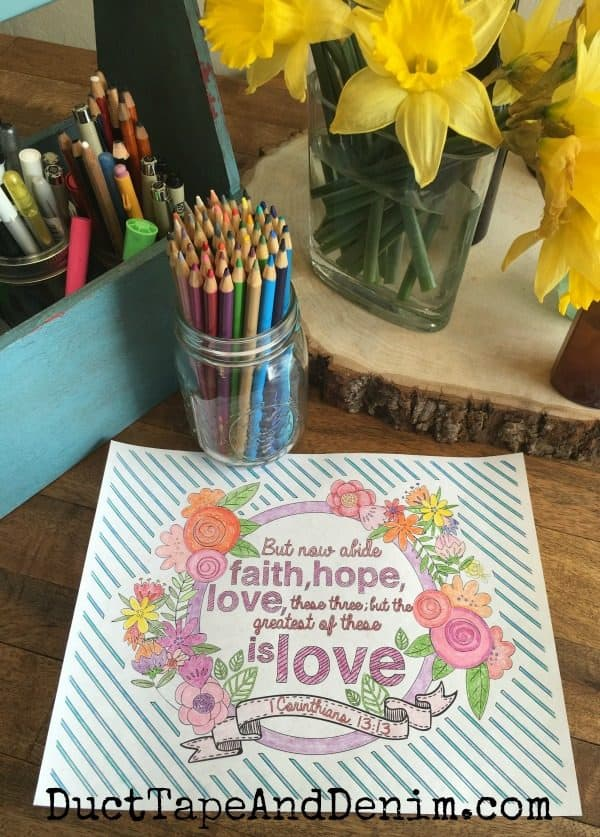 1 Corinthians 13:13 finished coloring page. More FREE Scripture coloring pages on DuctTapeAndDenim.com