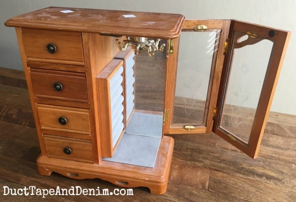 Thrift Store Jewelry Cabinet Makeover with Folding Door #2