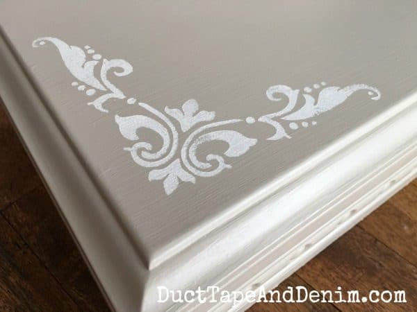 Close up of the stencil on my thrift store jewelry box makeover