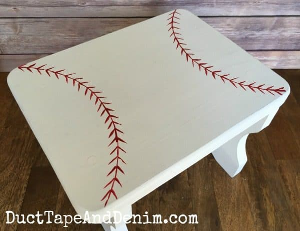 Finished baseball stool on DuctTapeAndDenim.com