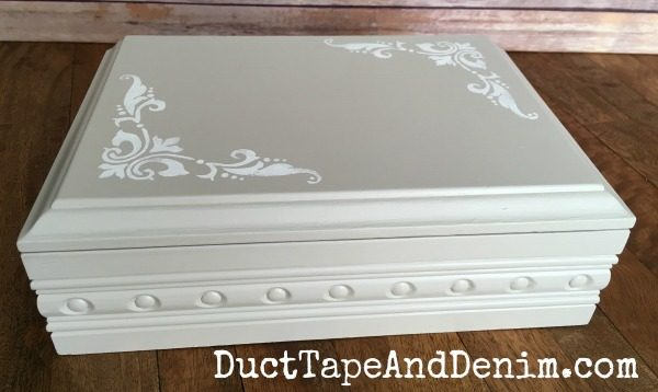 Finished jewelry box makeover. Found at thrift store. Painted with Americana Decor Chalky Finish Paint | DuctTapeAndDenim.com