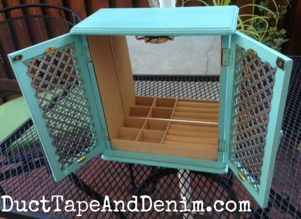 Finished turquoise homemade chalk paint jewelry cabinet found at thrift store
