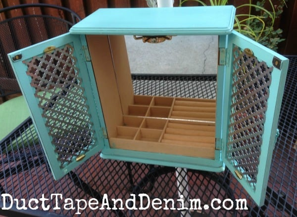National Craft Month Blog Hop | Turquoise Two-Door Jewelry Cabinet