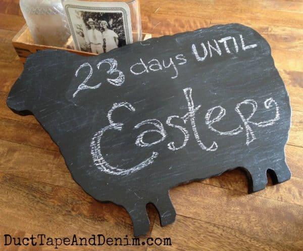 Finished wooden blackboard sheep sign | DuctTapeAndDenim.com