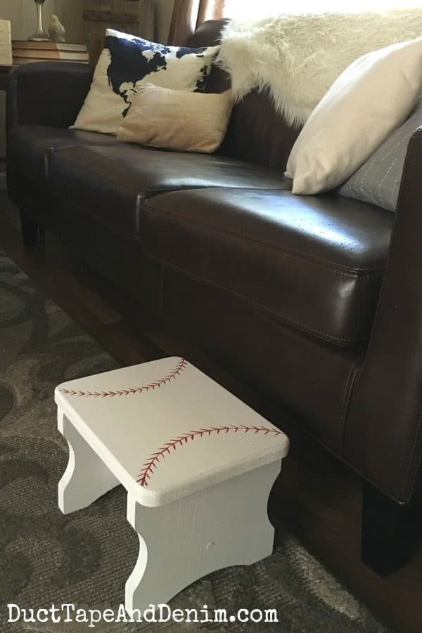 Now my old kitty uses our baseball stool to get up on the couch | DuctTapeAndDenim.com
