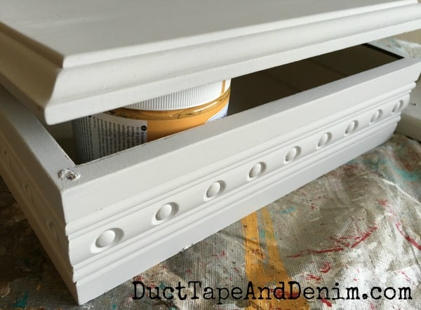 Stenciled Jewelry Box Makeover with Decoupaged Tissue Inside