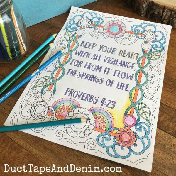 Proverbs 4:23 and more FREE Bible verse adult coloring pages on DuctTapeAndDenim.com
